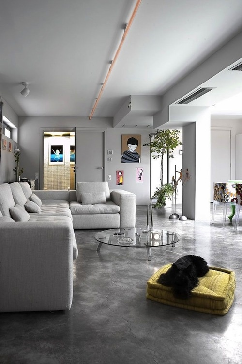 Concrete flooring for the living and dining rooms