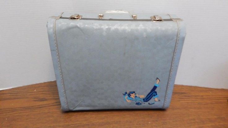 VTG 1960s Light Blue Vinyl Girls Suitcase with Teenager on Telephone Graphic