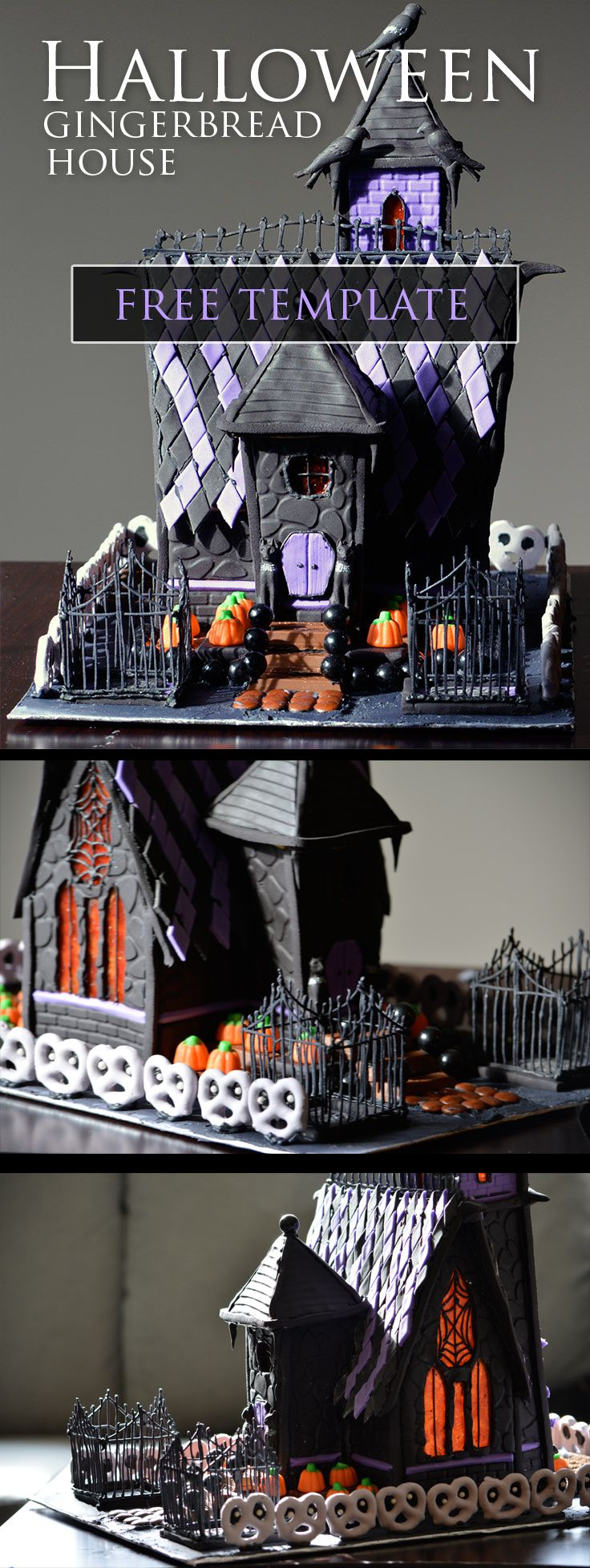 Free gingerbread house template at: http://www.doylecraft.ca/tutorials/halloween-house-2014-process/