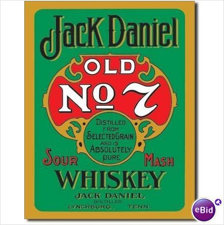Jack Daniels Whiskey - Old No. 7 - Green Label Tin Sign $16.90 FREE Shipping