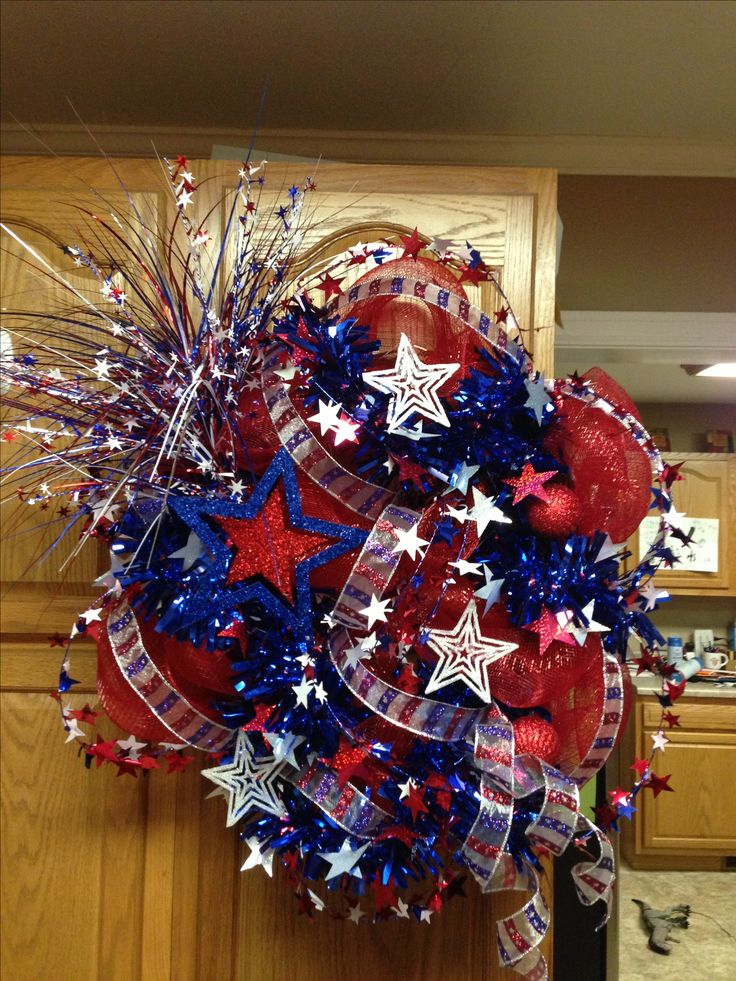 4th of July Patriotic Deco Mesh Wreath done in July of 2013.