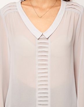 ASOS Blouse With Drop Collar And Pintuck Shoulders