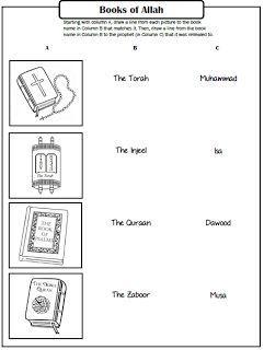 Pillars of Eemaan Worksheets: Books of Allah ~ TJ Homeschooling