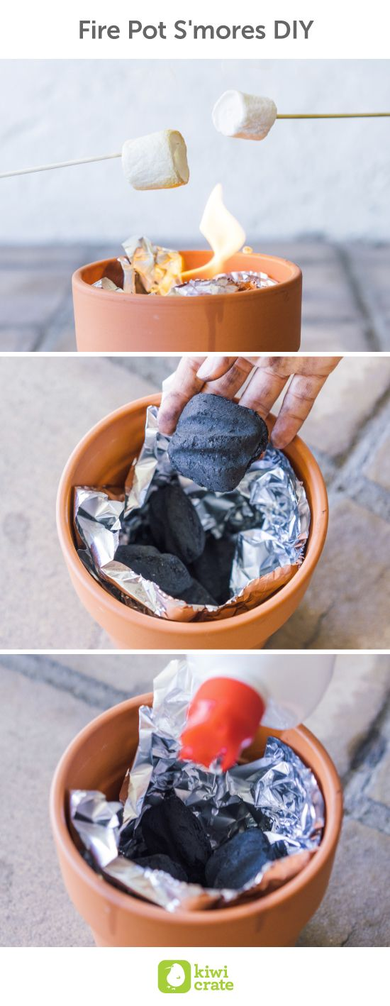 Fire Pot S'mores DIY. Recreate the fun of summertime camping with mini fire pot s'mores! Nothing's more convenient than roasting marshmallows using a simple terra cotta pot. It's the perfect way to enjoy a summer night treat in your own backyard. For Kids. Outdoors. Activities. Ideas. Science. Hacks. Food. Tips. Ideas. With Kids.