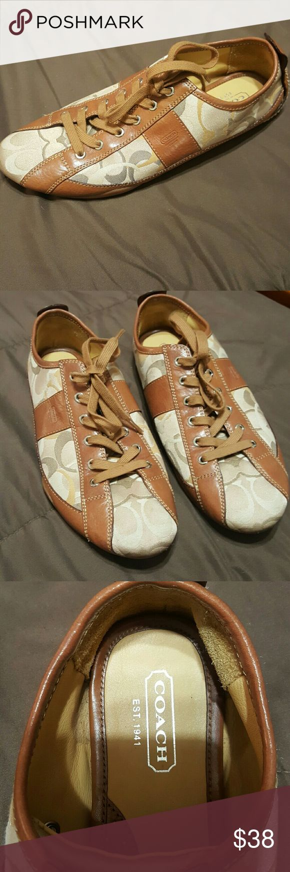 Coach mens shoes brown/ cream 11 Coach men's shoes brown/ cream 11 great condition only wore twice (too big for husband's feet) Coach Shoes