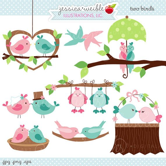 Two Birds Cute Valentine Digital Clipart - Commercial Use OK - Love Birds, Valentine Birds, Valentine Clipart, Wedding Birds