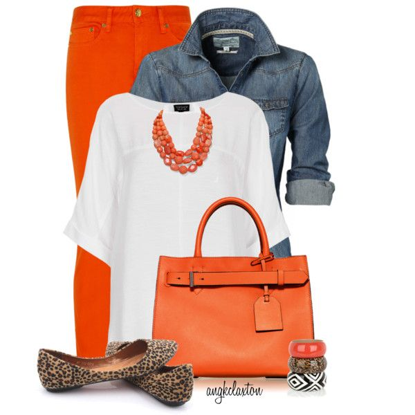 Orange Pants by angkclaxton on Polyvore featuring мода, Topshop, Tory Burch, Reed Krakoff and Aqua