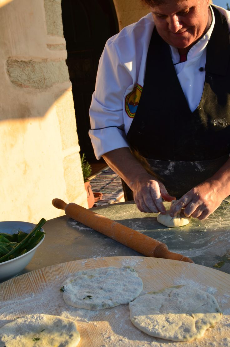 Making wild fennel pies, a local delicacy.