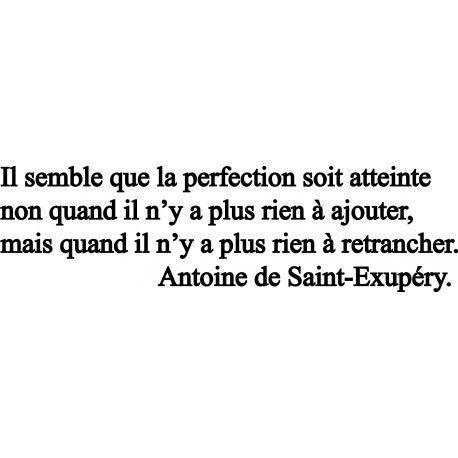 """""""Il semble que la perfection soit atteinte non quand il n'y a plus rien à ajouter, mais quand il n'y a plus rien à retrancher."""" - [Antoine de Saint-Exupéry]"""