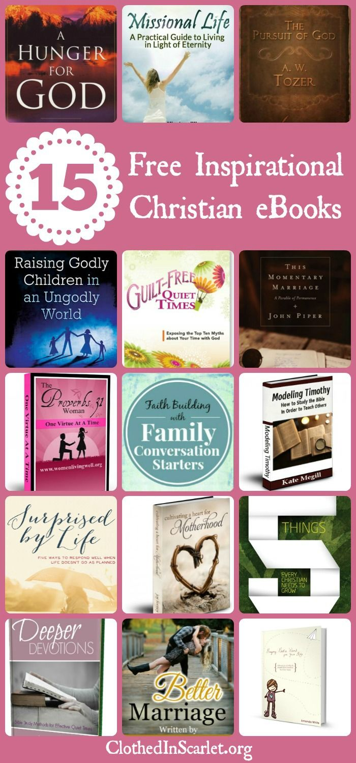 Over the past couple of years, I have come across several free inspirational Christian eBooks which helped me in my walk with God. Here are 15 FREE inspirational Christian eBooks... www.clothedinscarlet.org/15-free-inspirational-christian-ebooks/