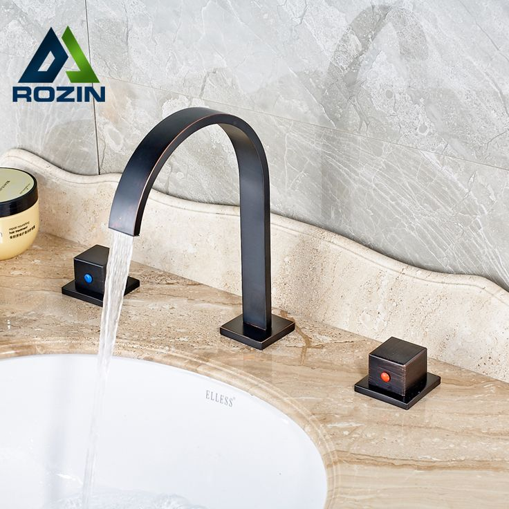 >> Click to Buy << 2016 Contemporary Oil Rubbed Bronze Bathroom Mixer Tap Waterfall 2 Hanles Water Faucet #Affiliate