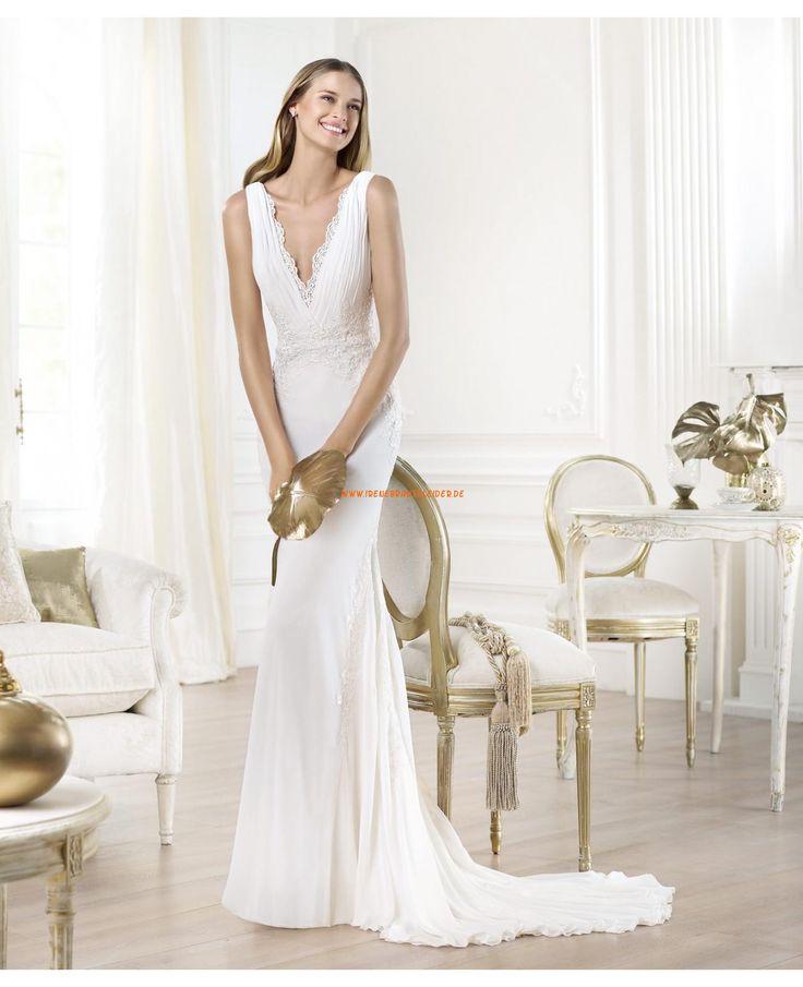 2014 Sexy rckenfrei Brautkleider aus Chiffon satin V-Ausschnitt
