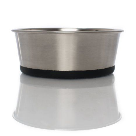 Finest Stainless Steel Pet Food & Water Bowl With Silicone Bottom, Food-Grade, Beautiful Brushed Stainless Steel, Modern Design, Dishwasher-safe, Anti-Skid, Noise-Free, FDA-Approved, 2016 Amazon Hot New Releases Small Animals  #Pet-Supplies