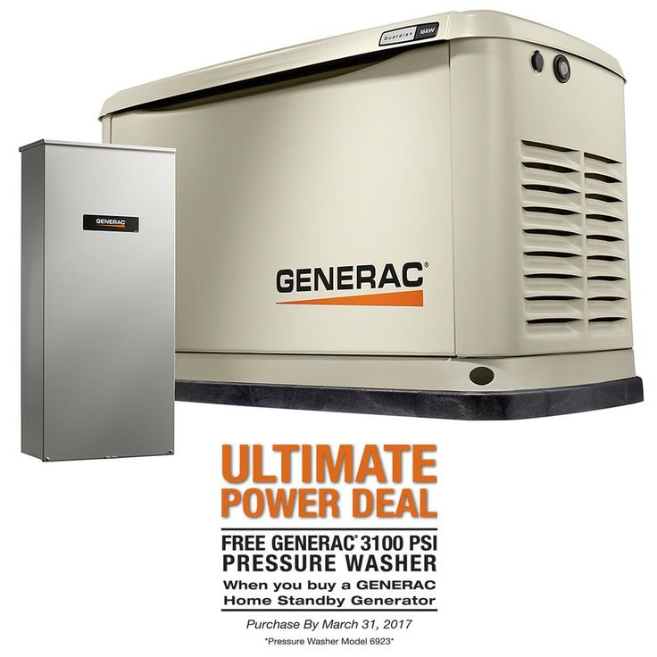 Generac 16,000-Watt (LP)/16,000-Watt (NG) Air Cooled Standby Generator with Whole House 200Amp Automatic Transfer Switch
