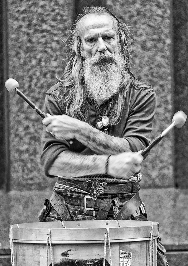 Tu-Bardh Wilson of Clanadonia Tribal Highland Band - a Celt and Pict inspired drum and bagpipes band. They are known for their very animated live performances. youtu.be/UII8CPnJuro