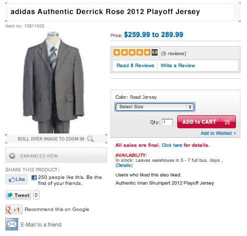 adidas Authentic Derrick Rose 2012 Playoff Jersey