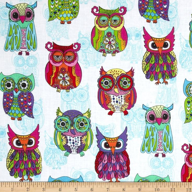 owl home decor fabric timeless treasures embellished owls white 11687