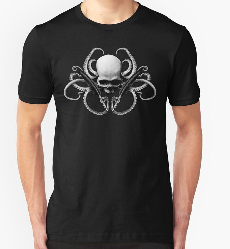 'Cthulhu Noir | The Alchemist' T-shirts / Hoodies. Click the image to BUY at Redbubble.  #tentacles #skull #quill #lovecraft #oldeones #ancients #void #cthulhu #mythos #medieval #occult #esoteric #mystical #horror #terror #fear #noir #medieval #goth #pirate #dagon #octopus #squid