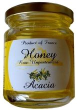 ACACIA HONEY $10.50 Acacia honey is mild with floral aromas. It is best enjoyed spread on tartines or as a natural sweetener in your cup of tea. Located near Mont St Michel, Manoir des Abeilles has more than 60 years of experience in beekeeping and honey making. Its products are renowned for their quality and natural ingredients. 250 grams / 8.8 oz