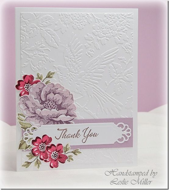 Stamp: Stippled Blossoms, Warmest Regards Colors:Pale Plum/Perfect Plum Regal Rose/Bravo Burgundy River Rock/True Thyme Tools: Anna Griffin embossing folder Aviary, Spellbinders Divine Eloquence