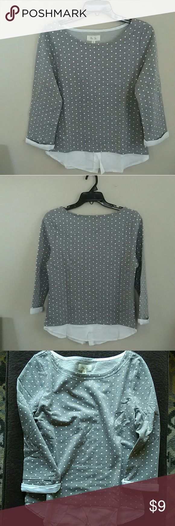 Polka Dot Gray Shirt Like Trimmed Women's Top Great for office. Style it with a pair white/beige/Heather gray trousers and flats or pumps!  Size:S  Relatively loose fitting. 60% Cotton 40%Polyester Per Se  Tops