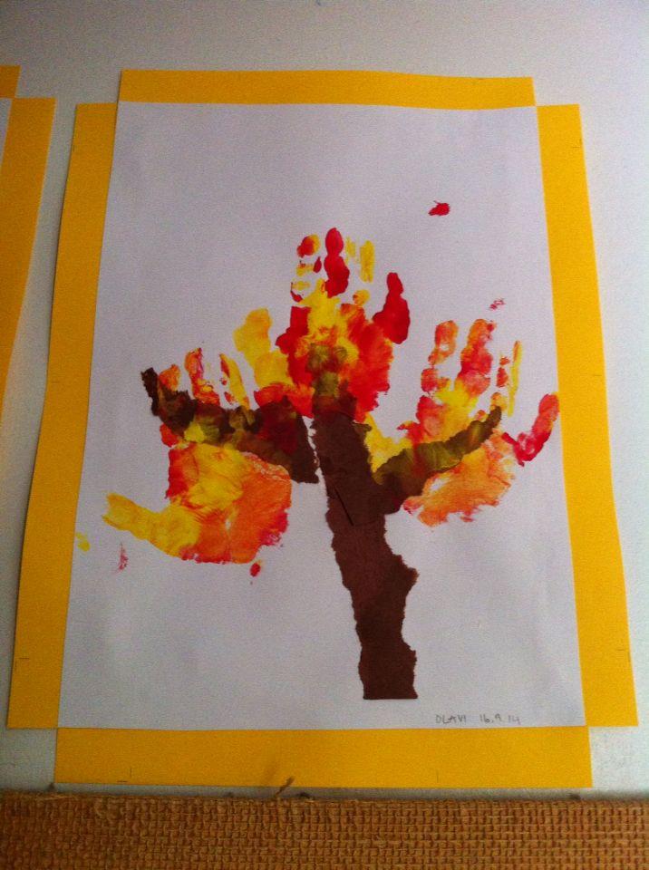 Handprinted fall tree