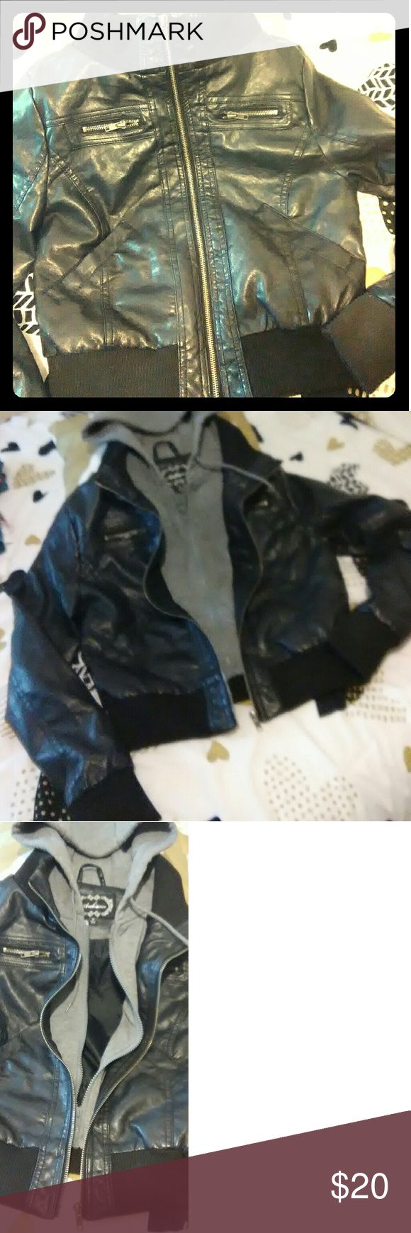 Black Vegan Leather, Hooded Bomber Jacket Very warm, moto faux leather bomber jacket.  Like new, very comfortable and stylish. Jackets & Coats Puffers