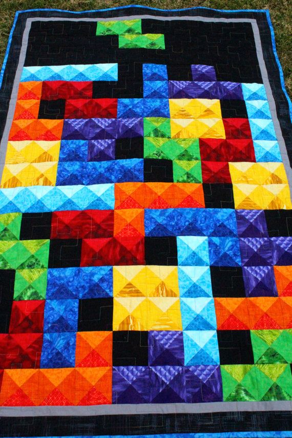 Tetris Quilt. I would probably never make this but my inner nerd just became very happy. Lol