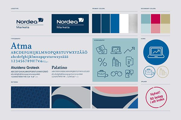 Corporate identity guide including logo, typeface, brand colors, graphics, pattern, and icons.
