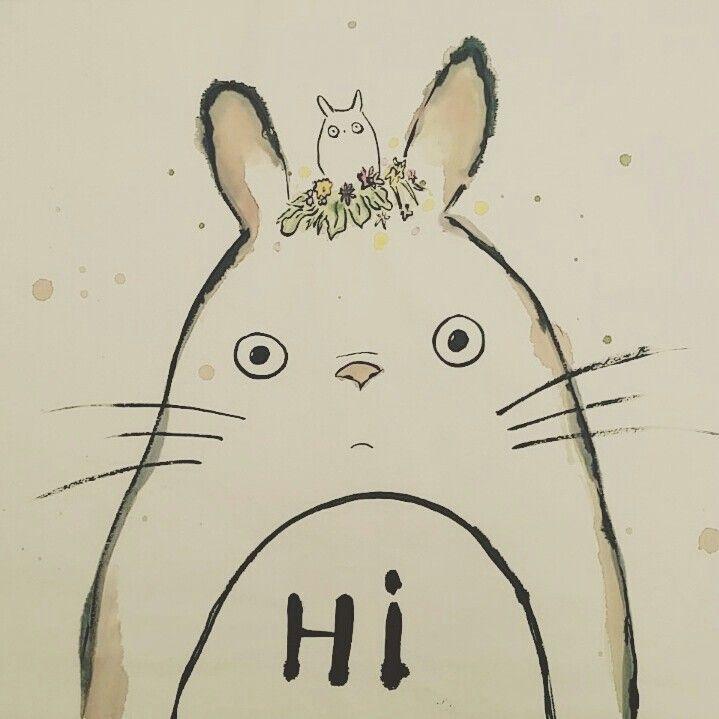 안녕 난 토토로야! #みやざきはやお #MiyazakiHayao #MyNeighborTotoro #ChineseInk #Wotercolor #Cute #Calligraphy #Vantage #Totoro