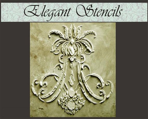 Reminiscent of a fine chandelier, this stencil designs unique shape adds something truly different to your home.  Plaster Stencil it surround