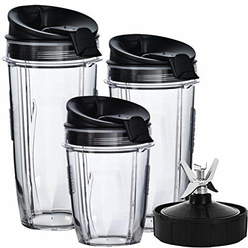 Nutri Ninja Blender Cups and Blade (7-FINS ONLY) Set | 7-Piece Replacement Parts & Accessories for Nutri Ninja Auto iQ BL482 BL642 NN102…