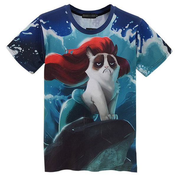 Blue Sexy Ladies Mermaid Grumpy Cat Printed Crew Neck T-shirt ($18) ❤ liked on Polyvore featuring tops, t-shirts, blue, cat print top, blue t shirt, blue top, cat tee and sexy tops