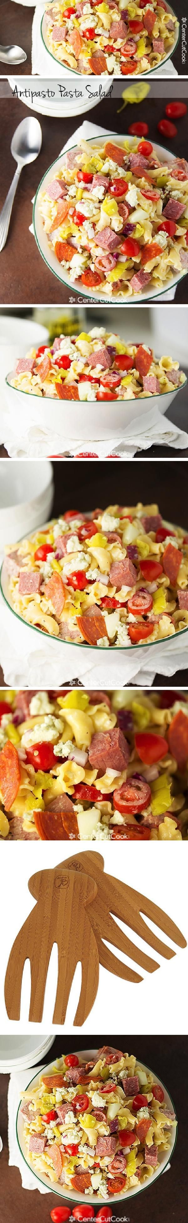 The Classic Italian ANTIPASTA pasta platter is turned into a perfect pasta SALAD with chunks of pepperoni, pepperoncini peppers, tomatoes, cucumbers, and blue cheese crumbles!