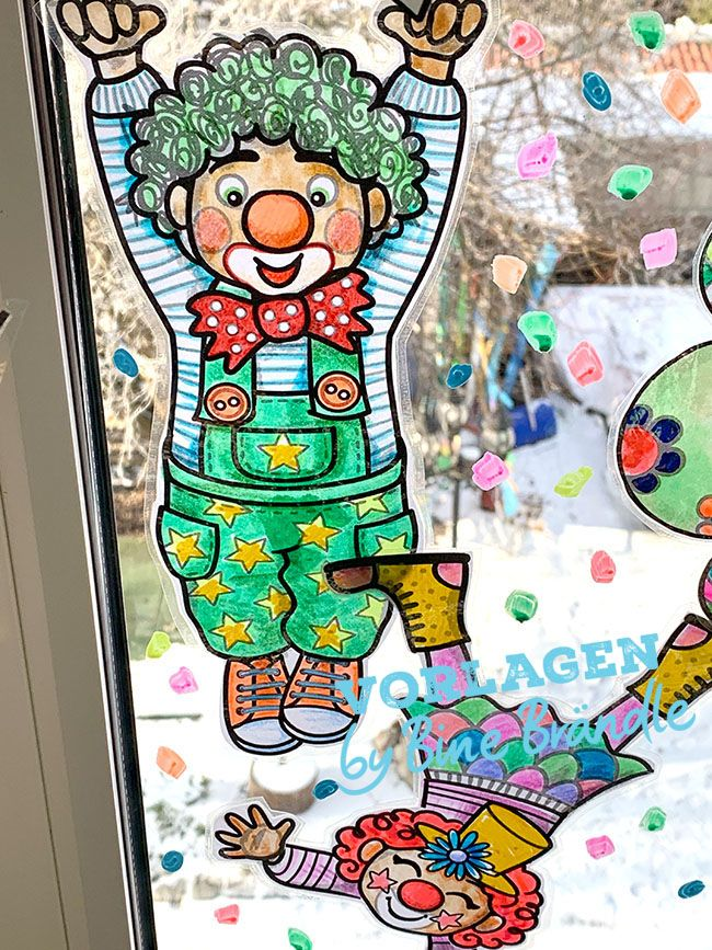 Clowns Mit Girlande Bines Shop Fasching Kunst Faschings Fensterdeko Clowns