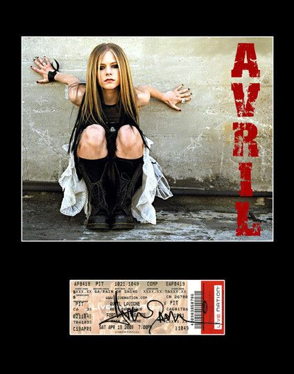 Rare Collectible Pop Star Avril Lavigne Autograph Hand Signed Ticket and Photo