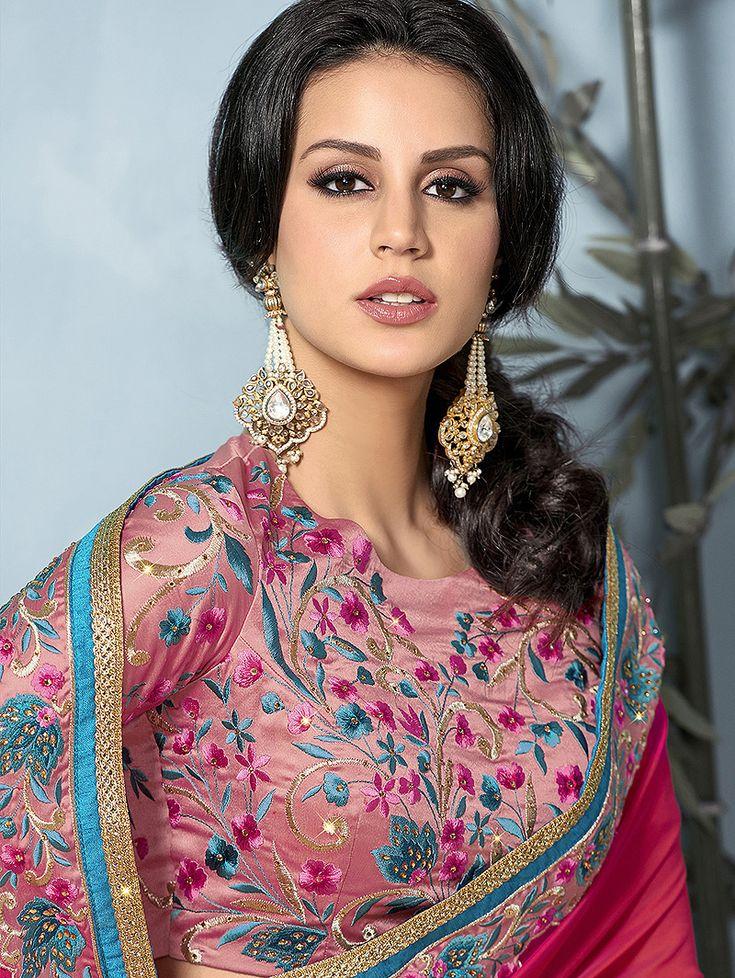 Pink Chiffon Plain Saree with Lace in 2020 Plain saree