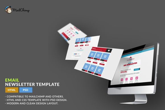 Check out E-Newsletter Template: HTML by WonderShop on Creative Market