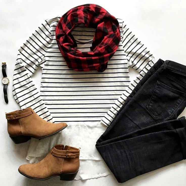 """Audrey Tom on Instagram: """"Buffalo plaid and stripes.  // If you're into plaid, check out this scarf or one of the other colors and different plaid scarves from @oohbabydesigns! Soft and affordable!  For details on the boots, jeans, and watch, tap for details or use @liketoknow.it www.liketk.it/1NL50 #liketkit"""""""