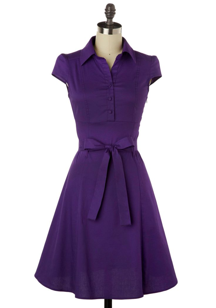 Soda Fountain Dress in Grape - Purple, Solid, Casual, Vintage Inspired, 50s, Shirt Dress, A-line, Cap Sleeves, Pinup, Mid-length, Belted, Best Seller, Button Down, Collared, Fit & Flare, Work, Cotton, Daytime Party, Summer