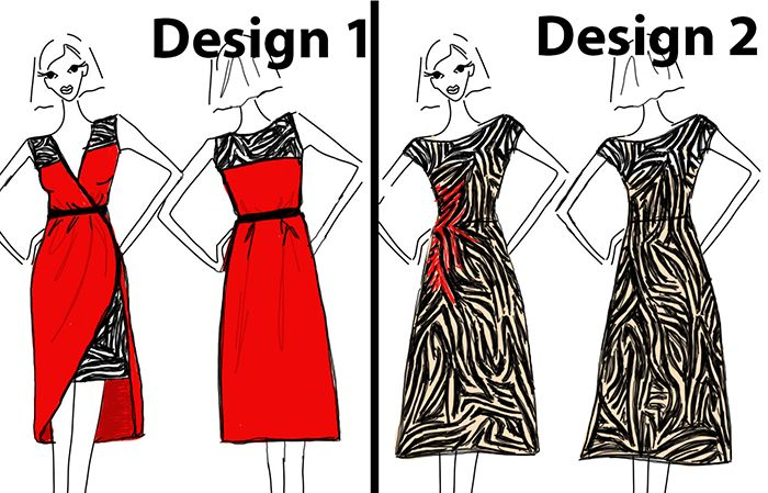 Two dresses readers could vote for in  NOVEMBER'S DESIGN CHALLENGE NOVEMBER'S DESIGN CHALLENGE www.duellingdesigns.com