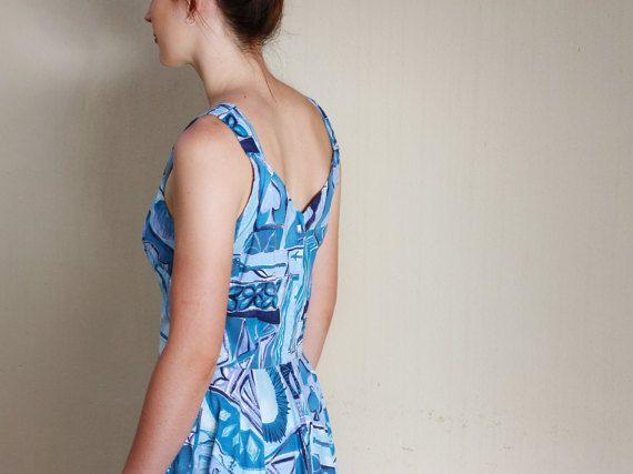 Vintage 1950s Blue Hawaiian Sundress / Cotton/ Paradise Hawaii / S/M