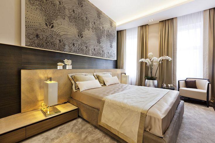 bedroom view Extravagant Taste, Discreet Luxury : Shape of Art Deco Interior in St. Petersburg (love the artwork above the bed)