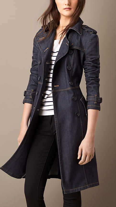 Burberry Indigo Japanese Denim Structured Trench Coat - A double-breasted Japanese denim trench coat. The fitted design features a belted waist and contrast colour stitching. Discover the women's outerwear collection at Burberry.com