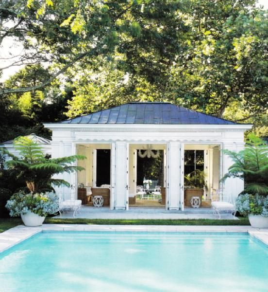 pool housePools Area, Swimming Pools, Elle Decor, Pools House, Pool Houses, Ac Lauder, Pools Parties, Dreams Pools, Pools Cabana
