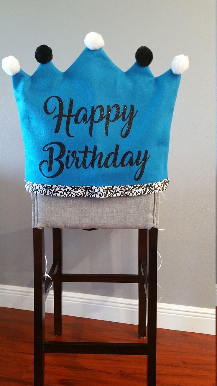 HAPPY BIRTHDAY- Chair Cover-Birthday Chair Cover-Birthday Girl-Black and White Birthday-Birthday Decor-Slip Cover by joyfulldelights on Etsy