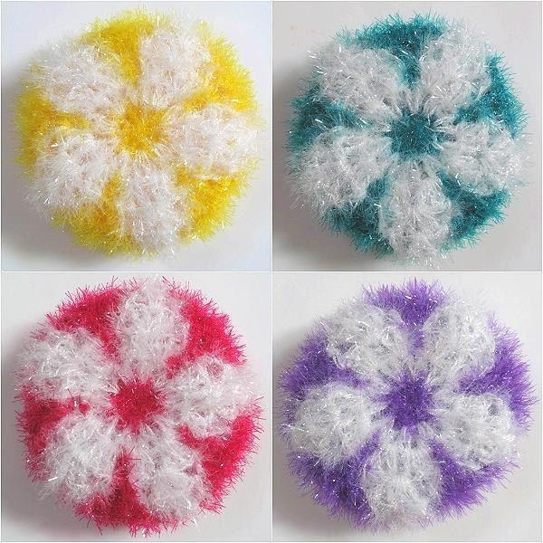 Crochet Eco Dish Scrubbies Flower Bun Set of 3 by AppleMintShop