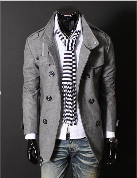 Outfit Inspiration for him; gray wool jacket, white top, scarf, medium wash jeans