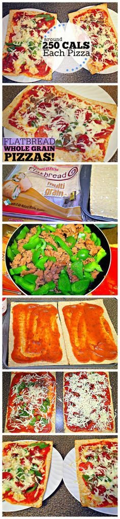 Low Calorie Flatbread Pizzas!!  pizza sauce, green bell peppers, turkey sausage, turkey pepperoni and skim mozzarella cheese.