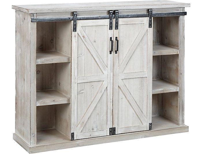 Elsie Whitewash Sliding Barn Door Chest Art Van Home Mattress Furniture Door Chest Locker Storage